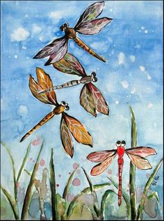 Dragonfly Watercolor Painting Original Artwork Dragonflies