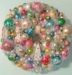Shabby Chic Vintage Ornament Wreath With Christmas Bulbs