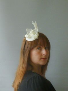 Ivory Fascinator Cocktail Hat. Sinamay Straw Head by SophieShields, £25.00