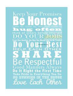 iloveitall.etsy.com | Family and House Rules Subway Art Print Manifesto . by iloveitall, $21.00
