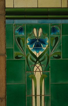 Bluebell time by practicalowl, via Flickr. No precise date on this tile set, but looks fairly period. This tile panel was found at an antique shop.