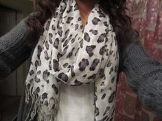 White leopard scarf