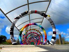 Truro park and ride!! Yarnbombed by the Graffiti Grannys!!