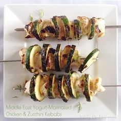Middle East Yogurt-Marinated Chicken  Zucchini | Taking On Magazines | www.takingonmagazines.com | These fantastic, fun kebabs come together in a matter of minutes and taste amazing.