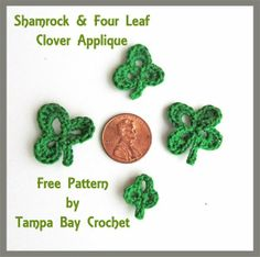 Free St Patrick's Day Crochet Pattern.  Free shamrock and four leaf clover crochet applique pattern.