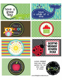 Free printable back to school lunch notes.