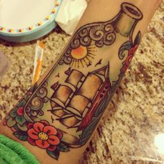 My tattoo and the beginning of my nautical sleeve.  #tattoos #shiptattoos #shipinabottletattoo #nauticaltattoos