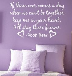 Keep Me in Your Heart Pooh Bear Vinyl Wall by greatwallsoffire. $30.00, via Etsy.