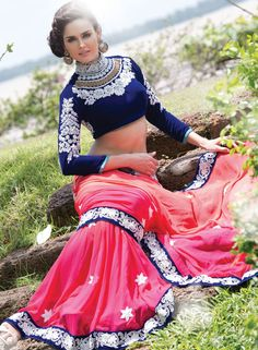 Spectacular Rani Pink and Coral Pink Saree