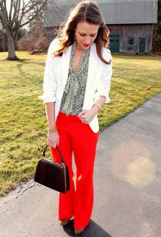 red and leopard would be cute blazer, color schemes, pincher fashion, outfit, loft, trouser, penni pincher, bright colors, red pants