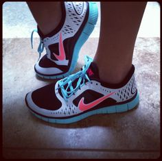 Teal and Coral Nikes. ♥