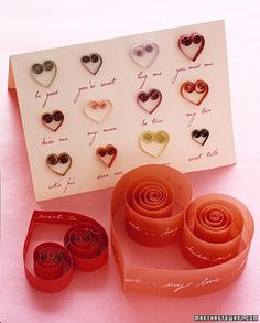 How to make quilled open hearts by Martha Stewart.