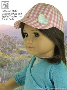 """Lee & Pearl Pattern #1008: Classic Ball Cap and Big Fat Trucker Hat for 18"""" Dolls (American Girl Dolls) by leeandpearl. Now available in our Etsy store at https://www.etsy.com/shop/leeandpearl"""