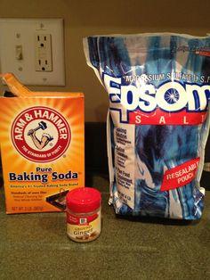 Detox Bath: 1/3c Epsom Salt + 1/3c Baking Soda + 1 1/2 tbsp Ground Ginger