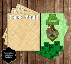 Free Minecraft Inspired Birthday Thank You Card Printable
