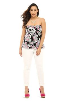 LOVE the floral print on this Lace Strapless Top.