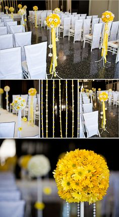 {Yellow & White Wedding Ceremony}  ~Flowers: Studio Fiore, Event Designer: David Tutera *Daisies are such a happy flower!