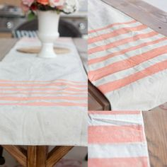 DIY Drop Cloth Table Runner w/ uneven stripes, in coral. kitchen tables, uneven stripe, drop cloth