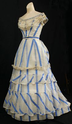 striped  summer evening dress dating to 1867