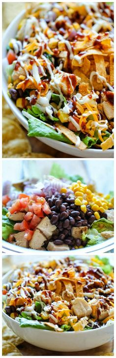 BBQ Chicken Salad recipe.. quick, easy, and husband approved! We added carrots, and orange, red, and green peppers.4/14/14