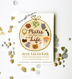 Need! Seriously my studio is going to be covered in calendars next year! Mates for Life 2014 Calendar 5x7 wall hanging nature by littlelow, $16.00