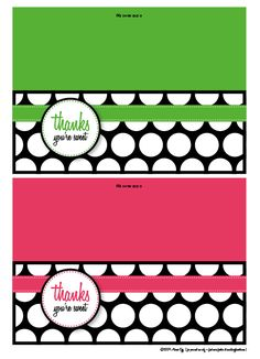 Thanks You're Sweet! Free Printable | Living Locurto - Free Printables, How To DIY Ideas, Crafts  Party Ideas.