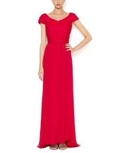 Crinkle Silk Chiffon Ruched Gown from Oscar de la Renta