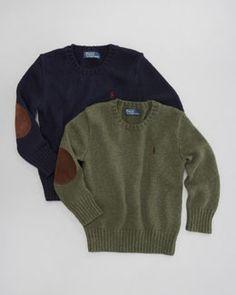 -3W0F Ralph Lauren Childrenswear Elbow-Patch Crewneck Sweater