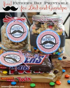 Dad's Secret Stash free printable {for grandpa too}.  Just add to their favorite treat or homemade goodie!  Fun!! ... Maybe revamp for Teacher's instead
