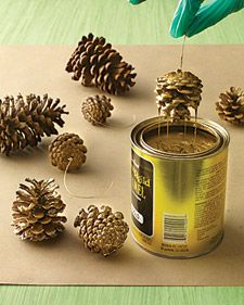 Gilded Pinecones How-To  1. In a ventilated area, line a surface with plastic and then paper. Secure a rod across an open cardboard box.     2. Insert a screw eye into base of each pinecone. Attach a 10-inch-long wire to each screw eye.     3. Stir gold paint. Wearing gloves, dip pinecones to coat; hang on rod in box. Let dry (at least 1 day).     4. Remove wire; thread with ribbon.