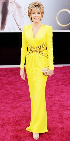 Jane Fonda in yellow Versace at the Academy Awards, 2013