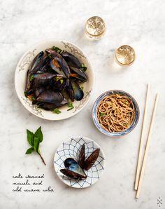 sake steamed mussels n cold sesame soba