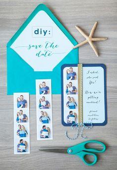 DIY Photo Strip Save the Dates via Something Turquoise strip save, diy photo, holiday cards, photo strip