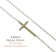 Kelly Ripa 14KT WHITE GOLD Sideways Cross Necklace by gemsinvogue