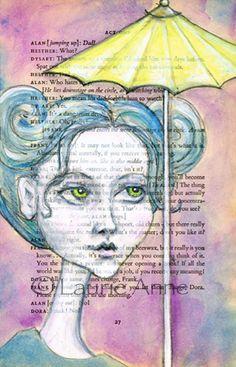 Big Eyed Beauty Lola with a Little Yellow Umbrella on a Misty Autumn Day, 4x7 art print. $14.00, via Etsy. art journal, yellow umbrella, beauty, artwork galor