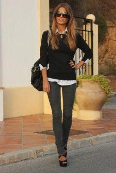 jean, sweater, fashion, style, white shirts