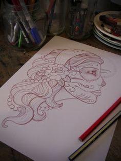 Gypsy Girl / Sugar Skull Profile Sketch for Tattoo Design by Melan Kolly #Gypsy #SugarSkull #TattooDesign