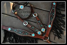 Custom Tack set/chocolate croc/rimsets of turquoise and red/conchos of turquoise/clear/red/chocolate fringe