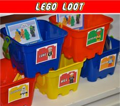 More lego party ideas, from pinata, to app, to carrying cases, name tages, picture frames, freeze containers, and more