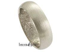 Platinum Half Round Fingerprint Wedding Band - brent&jess