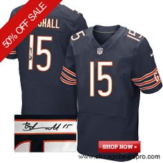$129.99 Men's Nike Chicago Bears #15 Brandon Marshall Elite Team Color Blue NFL Alternate Autographed Jersey