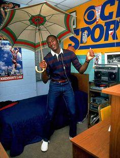 Michael Jordan in his college dorm room, 1983