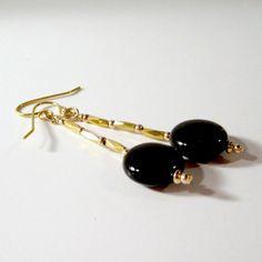 Black Earrings Yellow Gold Jewelry Handmade by jewelrybycarmal, $25.00