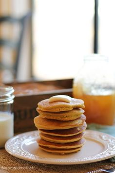 Cornbread Pancakes - a delicious stack of gluten-free pancakes made with corn flour. #glutenfree