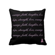 breast cancer awareness   pink ribbon pillow