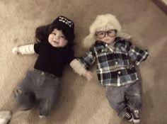 Babies dressed as Wayne and Garth from Wayne's World.