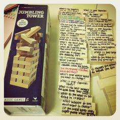 Therapeutic Jenga. Each piece has a question on it.