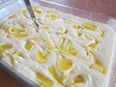 Lemon Dream Cake--French Vanilla Cake mix, lemon pie filling, Cool Whip, lemon frosting.
