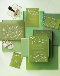 Green stationery package.