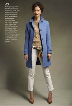 talbots- camel sweater, white pants, scarf belt, colored coat